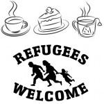 Cafe Welcome: Logo und Piktogramm Kaffee, Kuchen, Tee