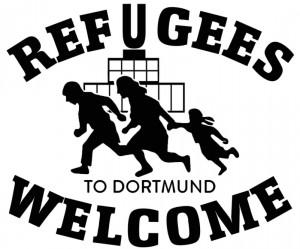 Logo: Mann, Frau und Kind laufen, im Hintergrund das Dortmunder U